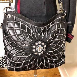 Black Vegan Leather Crystal Bling Handbag Purse